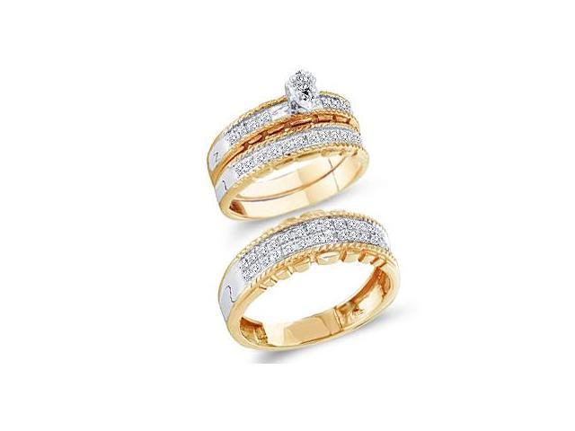 Diamond Engagement Rings Set Wedding Bands Yellow Gold Men Lady .49ct