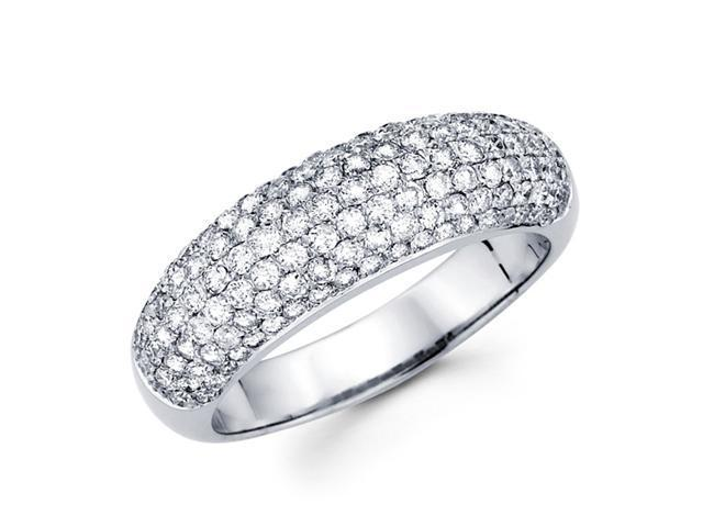 Diamond Anniversary Ring 14k White Gold Wedding Band Pave Set (1.18ct)