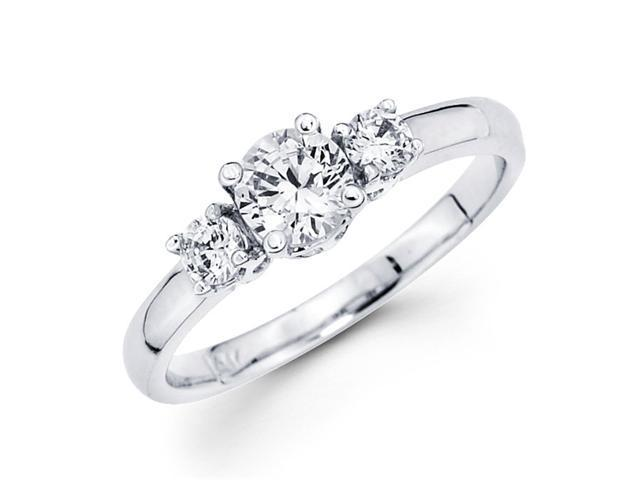 Semi Mount 3 Stone Diamond Engagement Ring 14k White Gold (1/5 CTW)