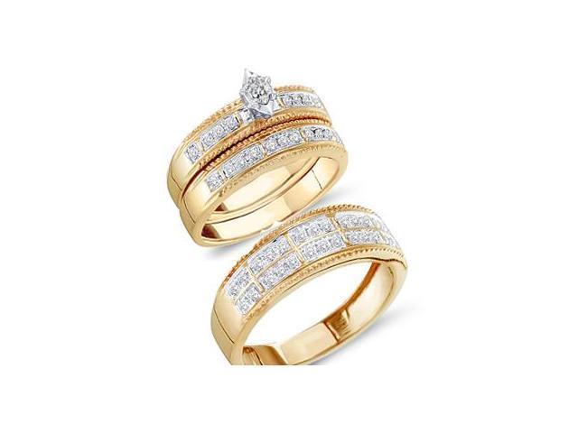 Trio Diamond Rings Bridal Set Engagement Wedding Yellow Gold .49ct