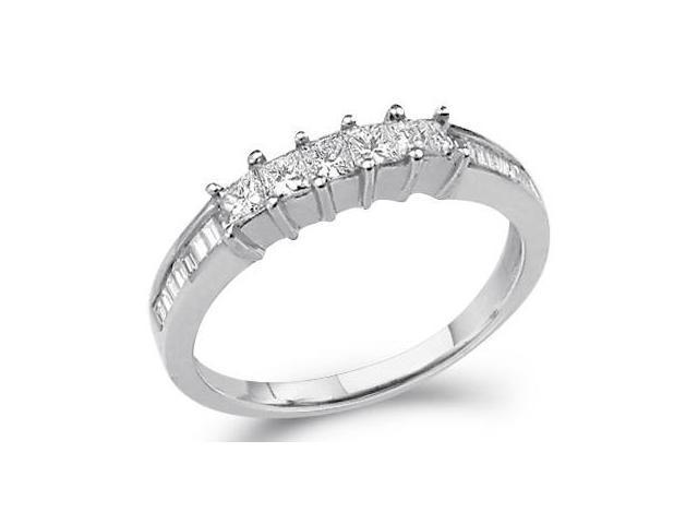 Princess Diamond Band Wedding Ring 14k White Gold (1/2 Carat)