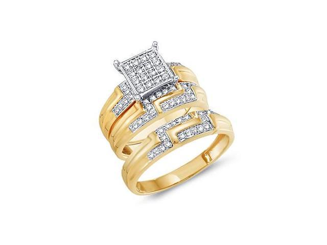 Diamond Engagement Rings Set Wedding Bands Yellow Gold Men Lady .42ct
