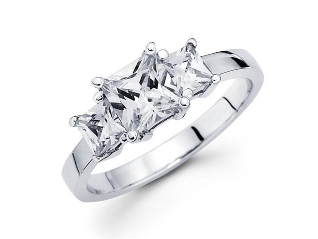 3 Stone Princess Diamond Engagement Ring 14k White Gold Semi Mount