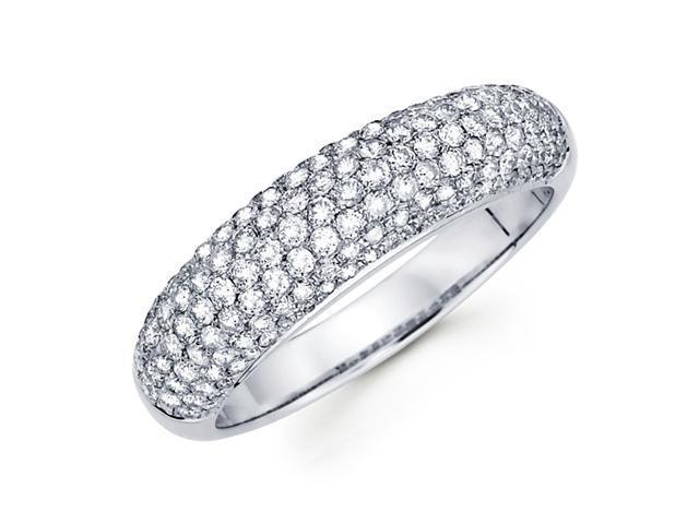 Diamond Anniversary Ring 14k White Gold Wedding Band Pave Set (1.02ct)