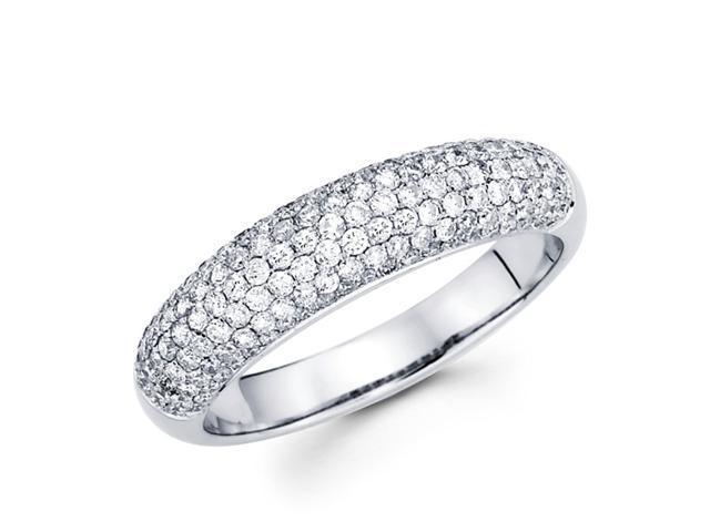 Diamond Anniversary Ring 14k White Gold Wedding Band Pave Set (0.80ct)