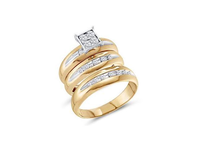 Trio Diamond Rings Bridal Set Engagement Wedding Yellow Gold .40ct