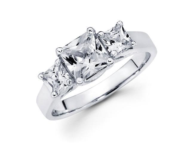 3 Stone Princess Diamond Engagement Ring Semi Mount 14k White Gold