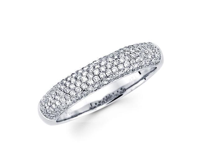 Round Diamond Anniversary Ring 14k White Gold Wedding Band (1/2 Carat)