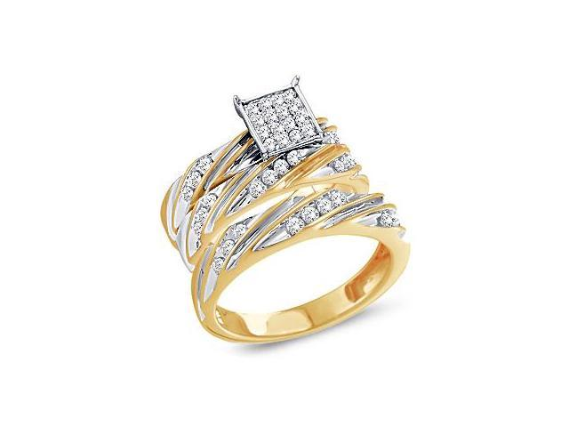 Diamond Engagement Rings Set Wedding Bands Yellow Gold Men Lady .66ct