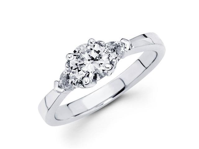 Semi Mount 3 Stone Diamond Engagement Ring 14k White Gold Set 1/5 CT