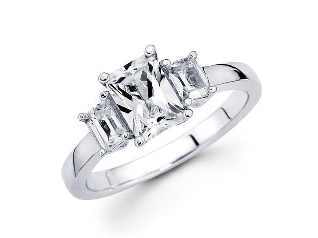Semi Mount 3 Stone Emerald Diamond Engagement Ring 14k White Gold