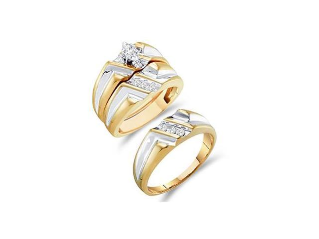Diamond Engagement Rings Set Wedding Multi-Tone Gold Men Ladies .25ct