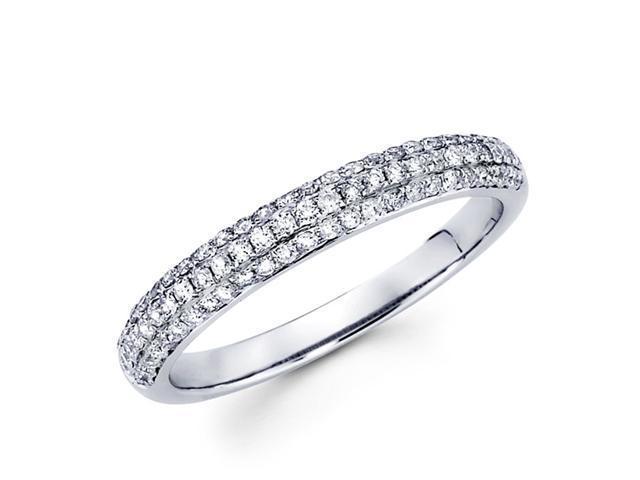 Round Diamond Anniversary Ring 14k White Gold Wedding Band (0.42 CTW)