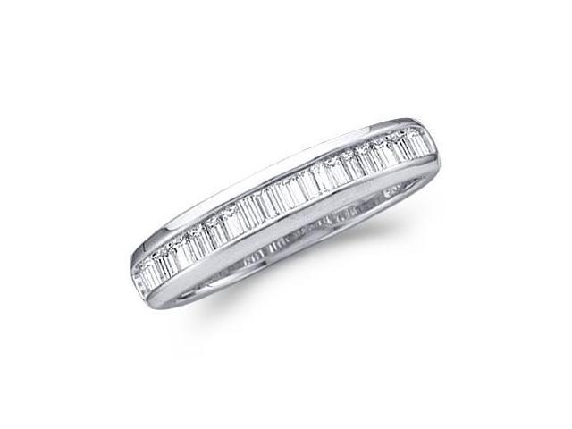 Diamond Wedding Ring 10k White Gold Baguette Band (1/2 CT)