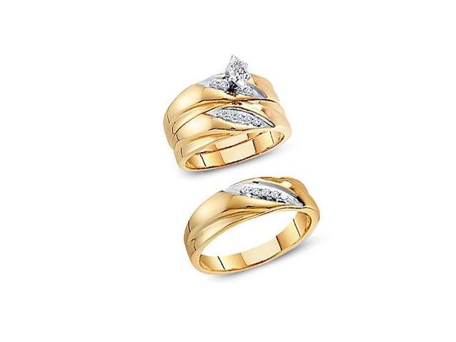 Trio Diamond Rings Bridal Set Engagement Wedding Yellow Gold .25 ct