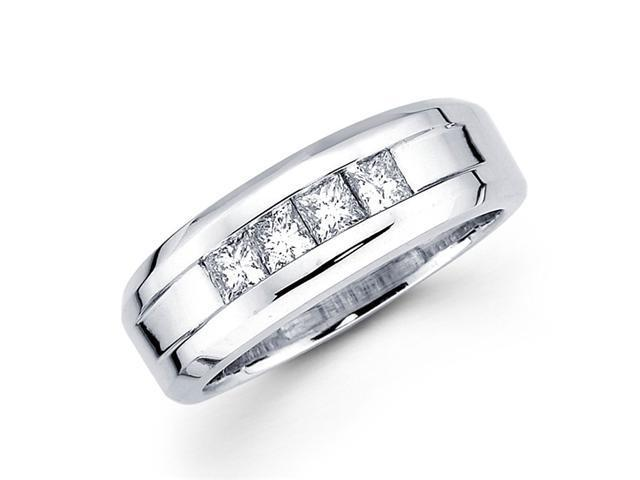Channel Princess Diamond Wedding Ring 14k White Gold Band (1/2 Carat)