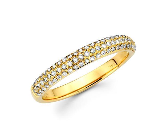 Round Diamond Anniversary Ring 14k Yellow Gold Wedding Band (0.42 CTW)