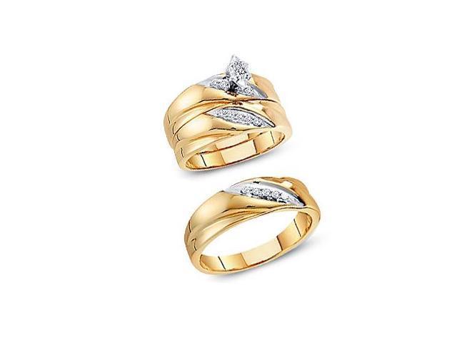 Trio Diamond Rings Bridal Set Engagement Wedding Yellow Gold .25 ct