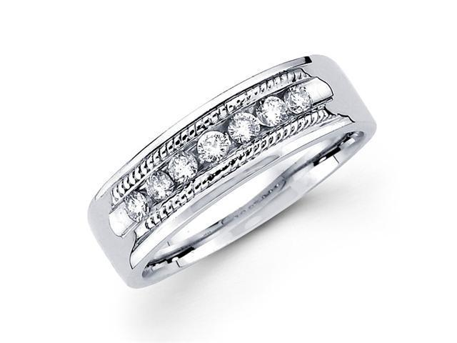 Milgrain Round Diamond Wedding Ring 14k White Gold Band (1/4 Carat)