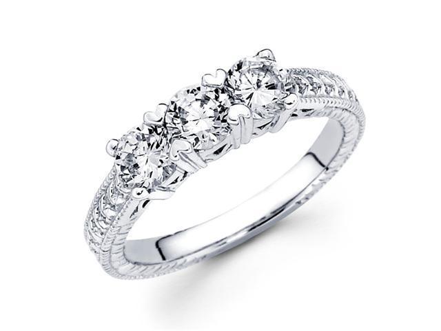 Three Stone Diamond Ring Round Anniversary 14k White Gold (1.10 Carat)