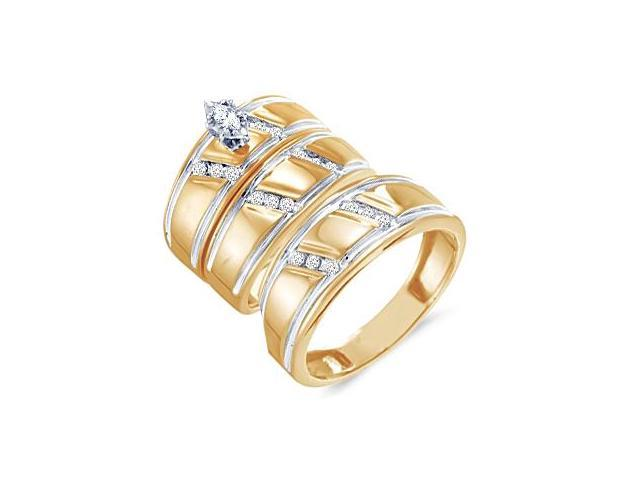 Trio Diamond Rings Bridal Set Engagement Wedding Yellow Gold .25ct