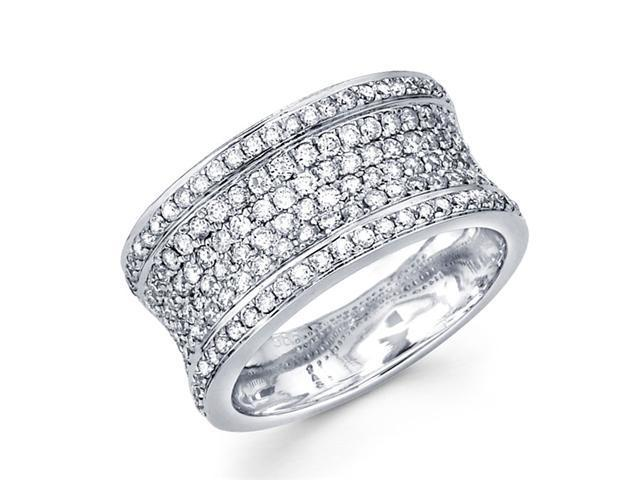 Round Diamond Anniversary Ring 14k White Gold Wedding Band (1.01 CTW)