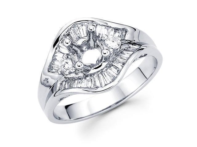 Three Stone Setting Diamond Engagement Ring 18k White Gold (0.81 CTW)