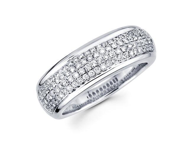 Round Diamond Anniversary Ring 14k White Gold Wedding Band (3/4 Carat)