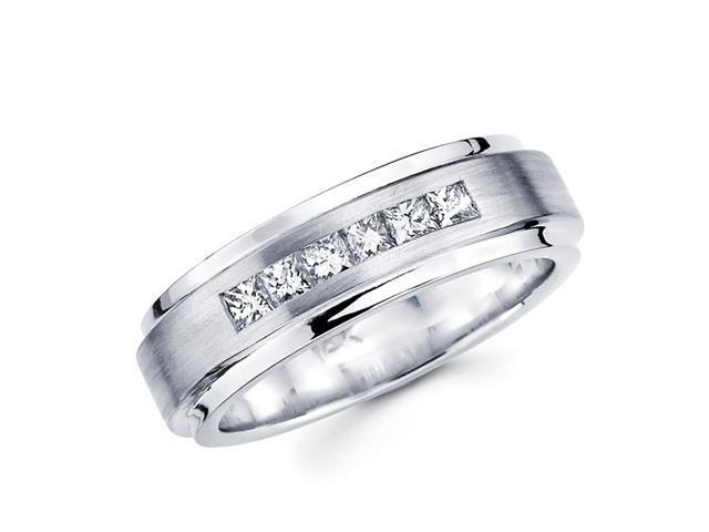 Ladies Princess Diamond Wedding Ring 14k White Gold Band (1/3 Carat)