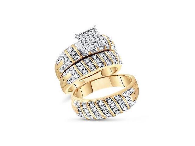 Trio Diamond Rings Bridal Set Engagement Wedding Yellow Gold 1/2ct
