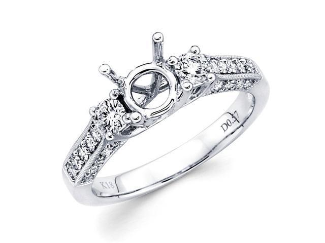 Semi Mount Pave Set Diamond Engagement Ring 14k White Gold (0.60 CTW)