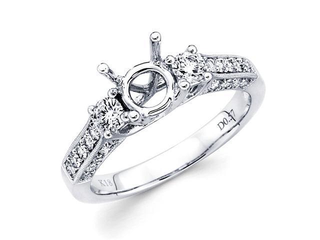 Semi Mount Pave Set Diamond Engagement Ring 14k White Gold (0.60 CTW)