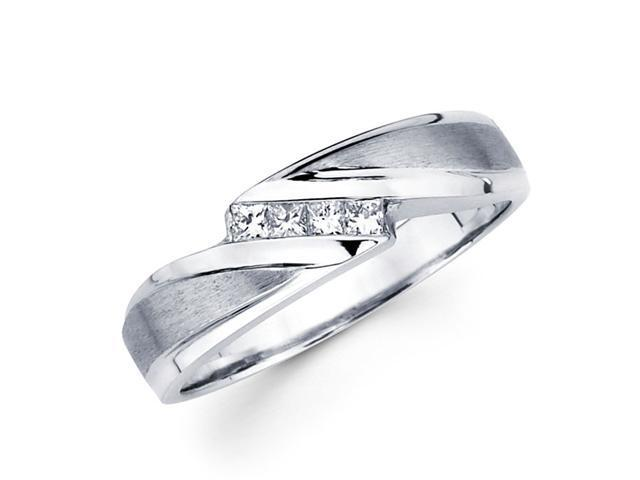 Princess Diamond Wedding Ring 14k White Gold Anniversary Band (1/7 CT)