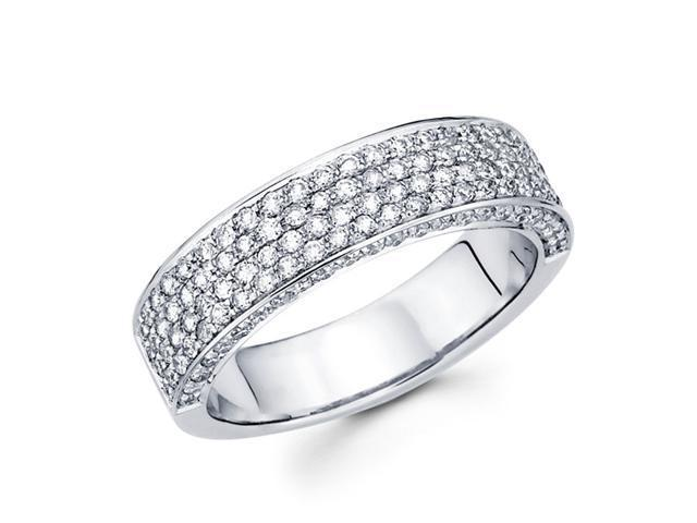 Round Diamond Anniversary Ring 14k White Gold Pave Set Wedding Band