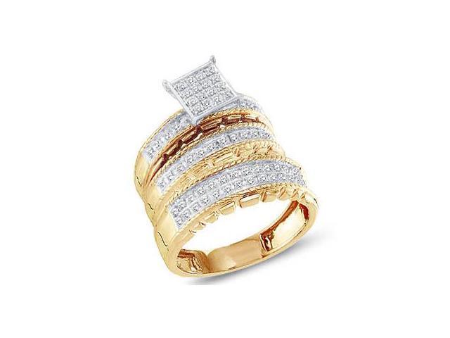 Trio Diamond Rings Bridal Set Engagement Wedding Yellow Gold .50 carat