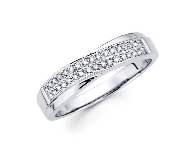 Round Diamond Anniversary Ring 14k White Gold Wedding Band (0.11 CTW)