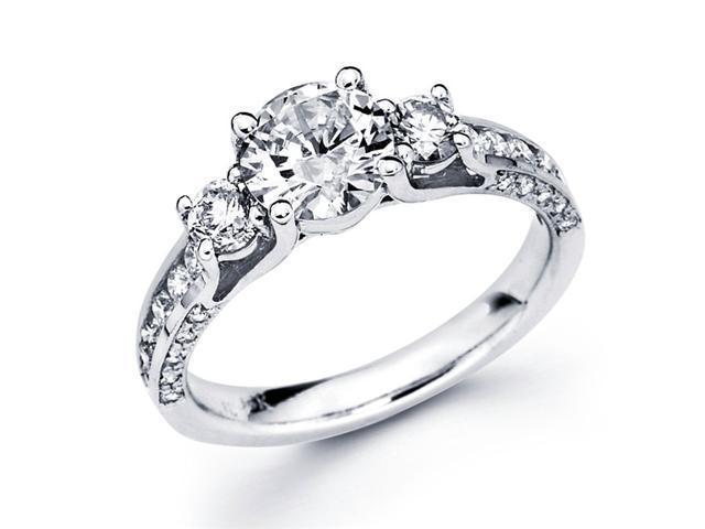 Semi Mount Diamond Three Stone Ring 18k White Gold Channel Set 2/3 CT