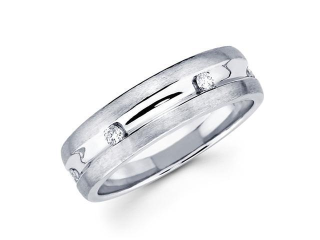 Round Diamond Wedding Ring 14k White Gold Anniversary Band (1/10 CTW)