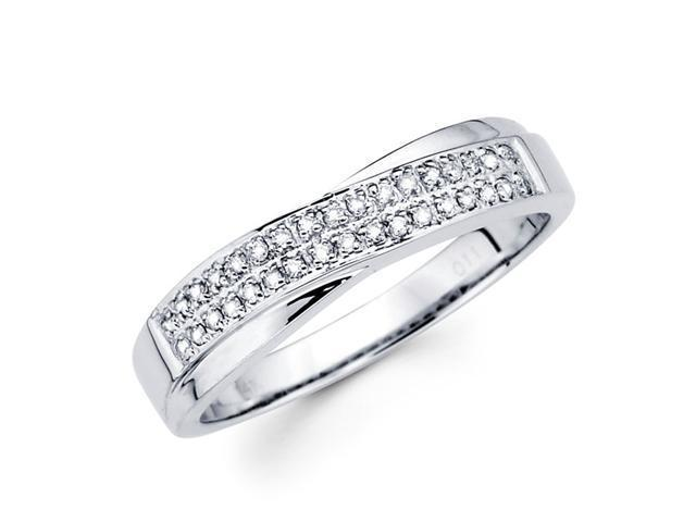 Round Diamond Anniversary Ring 14k White Gold Wedding Band (0.11 CTW)