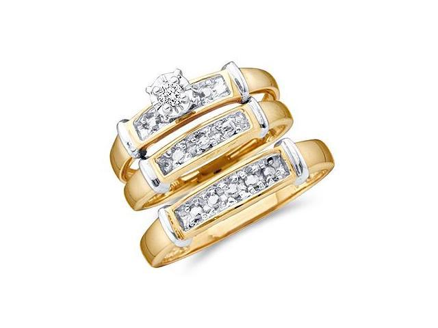 Men + Ladies Diamond Rings Engagement Wedding Bands Yellow Gold .10ct