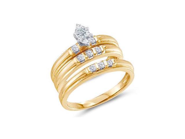 Trio Diamond Rings Bridal Set Engagement Wedding Yellow Gold 1/4 ct
