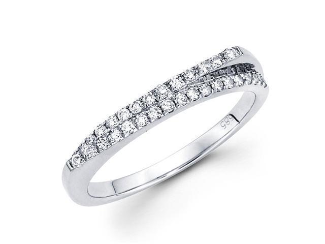 Diamond Anniversary Ring 14k White Gold Wedding Band Pave Set (1/4 CT)