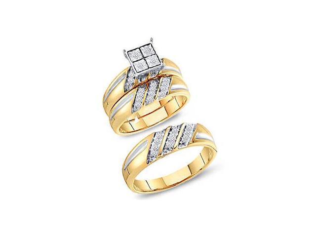 Diamond Engagement Rings Set Wedding Bands Yellow Gold Men Lady .24ct