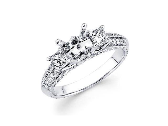Diamond Three Stone Ring 18k White Gold Milgrain Channel Semi Mount