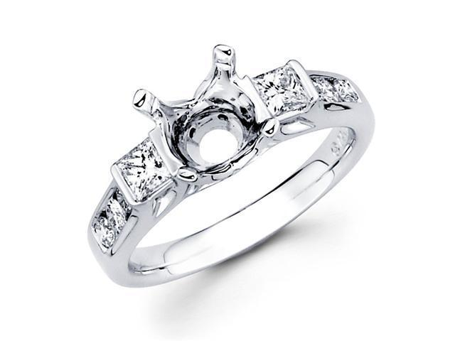 Semi Mount Diamond Engagement Ring 18k White Gold Princess