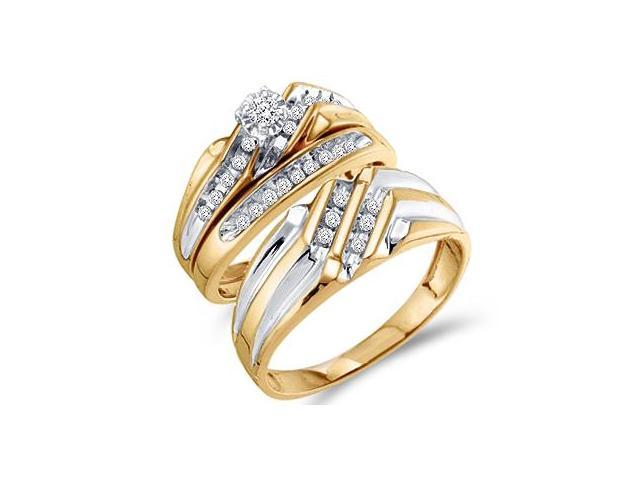 Diamond Engagement Rings Set Wedding Bands Yellow Gold Men Lady .32ct