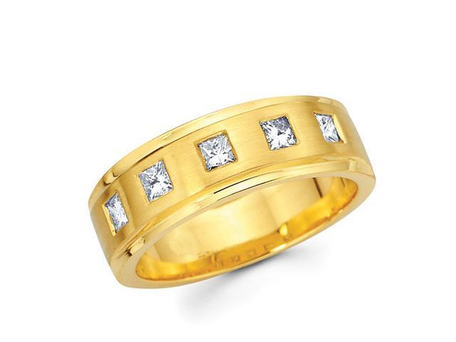 Princess Diamond Wedding Ring 14k Yellow Gold Anniversary Band 0.40 CT