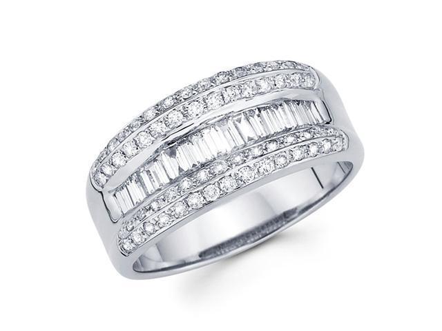 Diamond Anniversary Ring 14k White Gold Fancy Fashion Band (3/4 Carat)