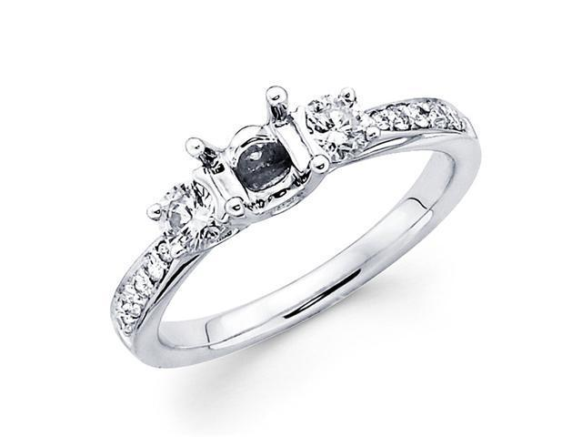 Semi Mount Three Stone Diamond Engagement Ring 18k White Gold (0.41ct)