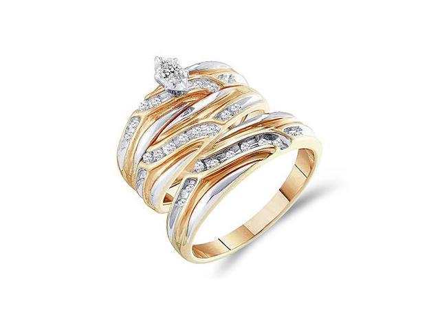 Diamond Engagement Rings Set Wedding Bands Yellow Gold Men Lady .31ct